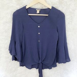{Mossimo} Blue Button Up Tie Front Blouse